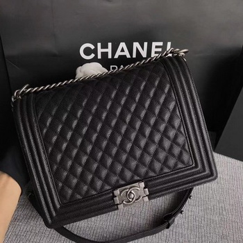Boy Chanel Flap Shoulder Bag Black Original Cannage Pattern A67087 Silver