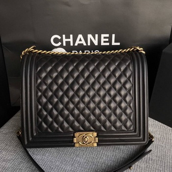Boy Chanel Flap Shoulder Bag Black Original Sheepskin Leather A67087 Gold