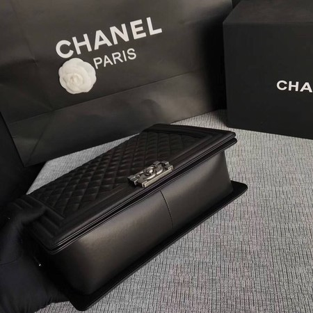 Boy Chanel Flap Shoulder Bag Black Original Sheepskin Leather A67087 Silver