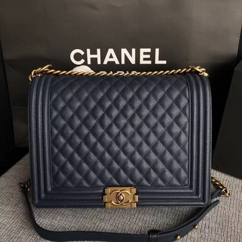 Boy Chanel Flap Shoulder Bag Blue Original Cannage Pattern A67087 Gold