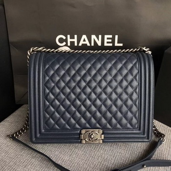 Boy Chanel Flap Shoulder Bag Blue Original Cannage Pattern A67087 Silver