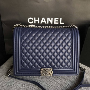 Boy Chanel Flap Shoulder Bag Blue Original Sheepskin Leather A67087 Silver
