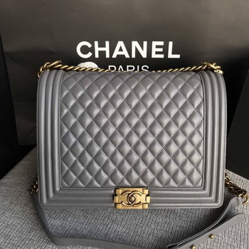 Boy Chanel Flap Shoulder Bag Grey Original Sheepskin Leather A67087 Gold
