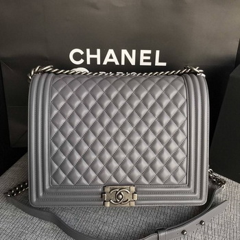 Boy Chanel Flap Shoulder Bag Grey Original Sheepskin Leather A67087 Silver