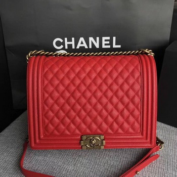 Boy Chanel Flap Shoulder Bag Red Original Cannage Pattern A67087 Gold