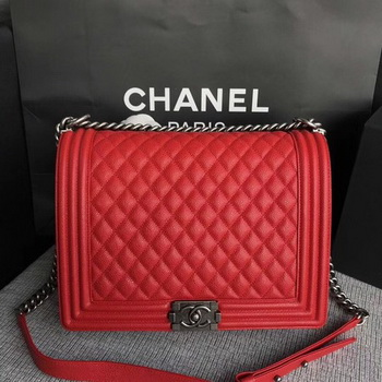 Boy Chanel Flap Shoulder Bag Red Original Cannage Pattern A67087 Silver