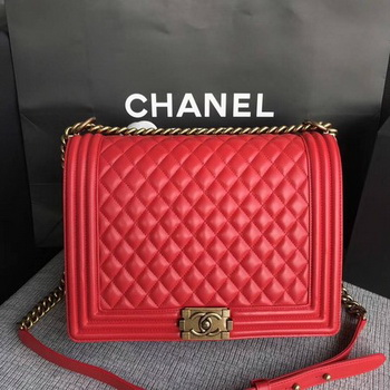 Boy Chanel Flap Shoulder Bag Red Original Sheepskin Leather A67087 Gold