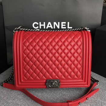 Boy Chanel Flap Shoulder Bag Red Original Sheepskin Leather A67087 Silver