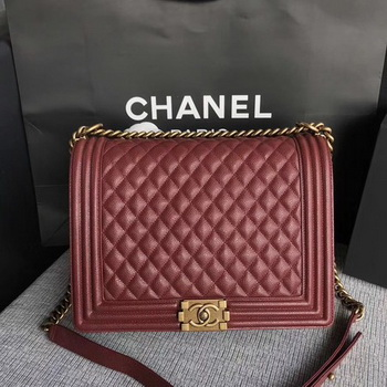 Boy Chanel Flap Shoulder Bag Wine Original Cannage Pattern A67087 Gold