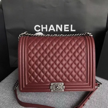 Boy Chanel Flap Shoulder Bag Wine Original Cannage Pattern A67087 Silver