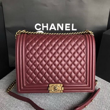 Boy Chanel Flap Shoulder Bag Wine Original Sheepskin Leather A67087 Gold