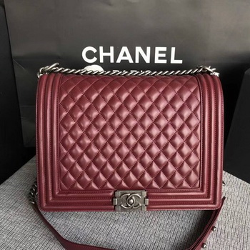 Boy Chanel Flap Shoulder Bag Wine Original Sheepskin Leather A67087 Silver