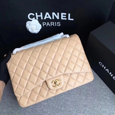Chanel Maxi Quilted Classic Flap Bag Apricot Sheepskin Leather A58601 Gold