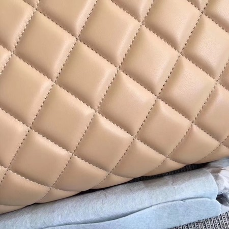 Chanel Maxi Quilted Classic Flap Bag Apricot Sheepskin Leather A58601 Silver