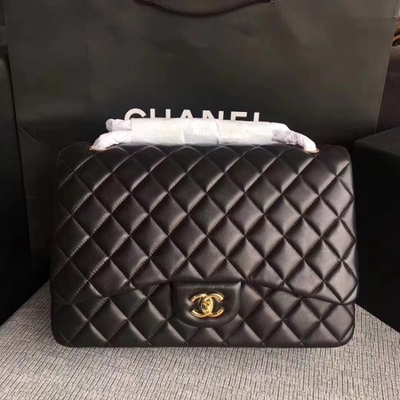 Chanel Maxi Quilted Classic Flap Bag Black Sheepskin Leather A58601 Gold