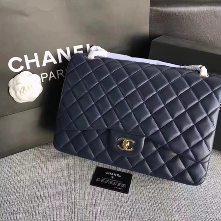 Chanel Maxi Quilted Classic Flap Bag Blue Sheepskin Leather A58601 Gold