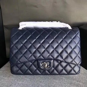 Chanel Maxi Quilted Classic Flap Bag Blue Sheepskin Leather A58601 Silver