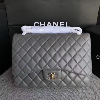 Chanel Maxi Quilted Classic Flap Bag Grey Sheepskin Leather A58601 Gold