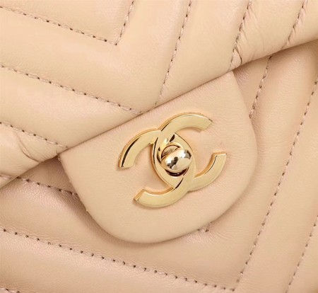 Chanel Maxi Classic Flap Bag Apricot Chevron Sheepskin Leather A58601 Gold