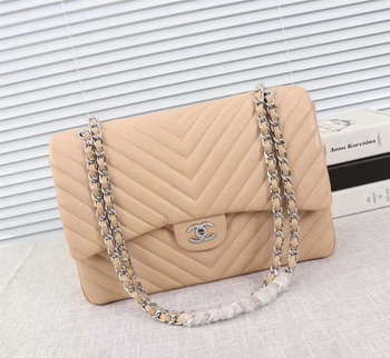 Chanel Maxi Classic Flap Bag Apricot Chevron Sheepskin Leather A58601 Silver