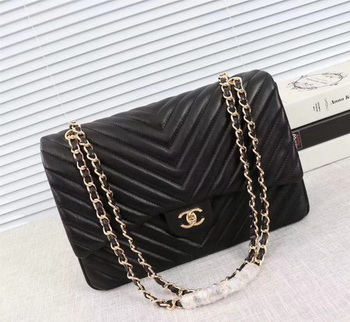 Chanel Maxi Classic Flap Bag Black Chevron Sheepskin Leather A58601 Gold