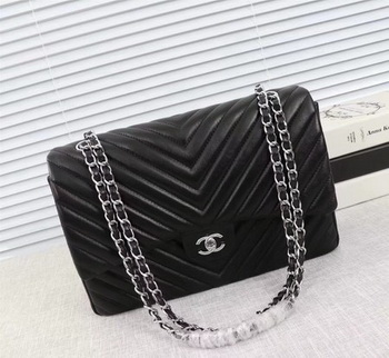 Chanel Maxi Classic Flap Bag Black Chevron Sheepskin Leather A58601 Silver