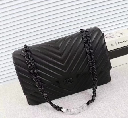 Chanel Maxi Classic Flap Bag Chevron Sheepskin Leather A58601 Black