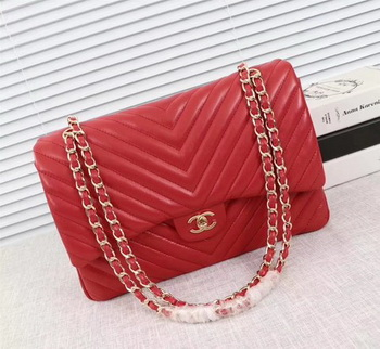 Chanel Maxi Classic Flap Bag Red Chevron Sheepskin Leather A58601 Gold