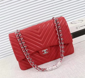 Chanel Maxi Classic Flap Bag Red Chevron Sheepskin Leather A58601 Silver