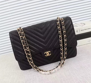 Chanel Maxi Quilted Classic Flap Bag Black Chevron Cannage Pattern A58601 Gold