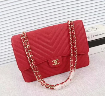 Chanel Maxi Quilted Classic Flap Bag Red Chevron Cannage Pattern A58601 Gold