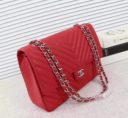 Chanel Maxi Quilted Classic Flap Bag Red Chevron Cannage Pattern A58601 Silver