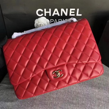 Chanel Maxi Quilted Classic Flap Bag Red Sheepskin Leather A58601 Gold