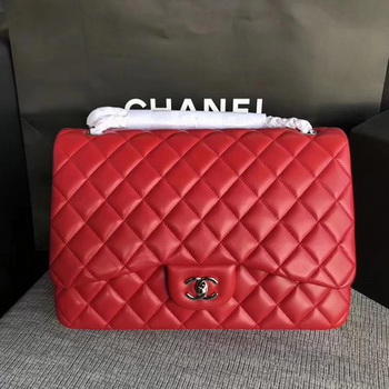 Chanel Maxi Quilted Classic Flap Bag Red Sheepskin Leather A58601 Silver