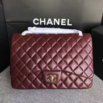 Chanel Maxi Quilted Classic Flap Bag Wine Sheepskin Leather A58601 Gold