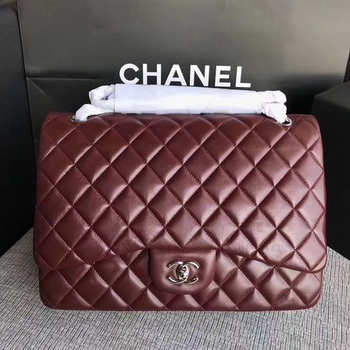 Chanel Maxi Quilted Classic Flap Bag Wine Sheepskin Leather A58601 Silver
