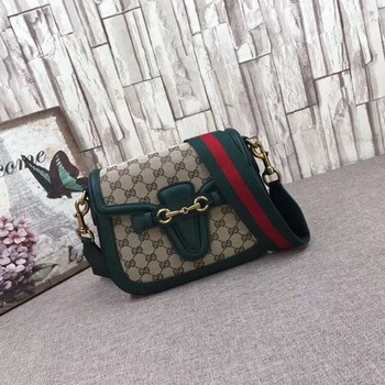 Gucci GG Lady Web Hand-Stained Leather Shoulder Bag 380573 Green