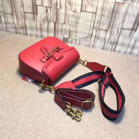 Gucci Lady Web Hand-Stained Leather Shoulder Bag 380573 Red