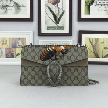 Gucci Dionysus GG Supreme Canvas Shoulder Bag 400249 Khaki