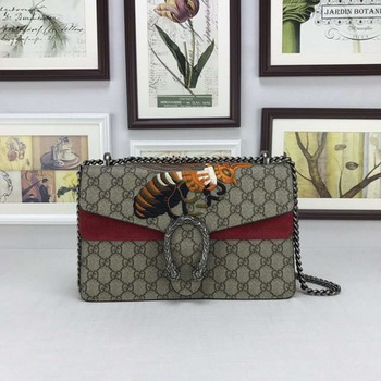 Gucci Dionysus GG Supreme Canvas Shoulder Bag 400249 Red