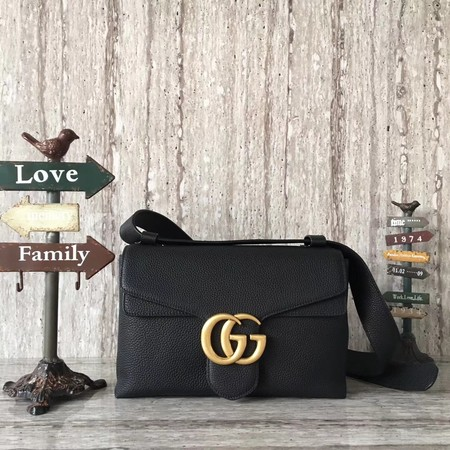 Gucci GG Marmont Leather Shoulder Bag 401173 Black
