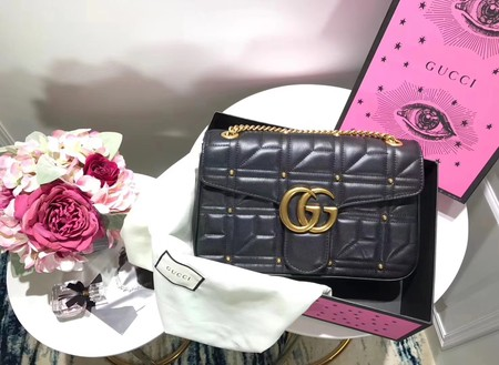 Gucci GG Marmont Medium Matelasse Shoulder Bag 443496 Black