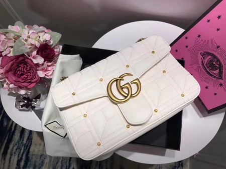 Gucci GG Marmont Medium Matelasse Shoulder Bag 443496 White