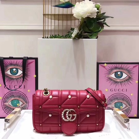 Gucci GG Marmont Small Matelasse Shoulder Bag 443497 Red
