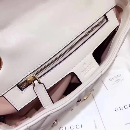Gucci GG Marmont Small Matelasse Shoulder Bag 443497 White