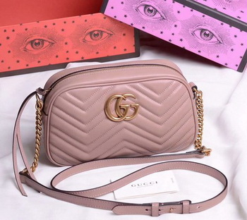 Gucci GG Marmont Small Shoulder Bag 447632 Deep Pink