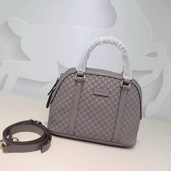 Gucci Signature Leather Top Handle Bag 449654 Grey