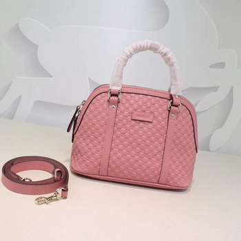 Gucci Signature Leather Top Handle Bag 449654 Pink