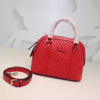 Gucci Signature Leather Top Handle Bag 449654 Red