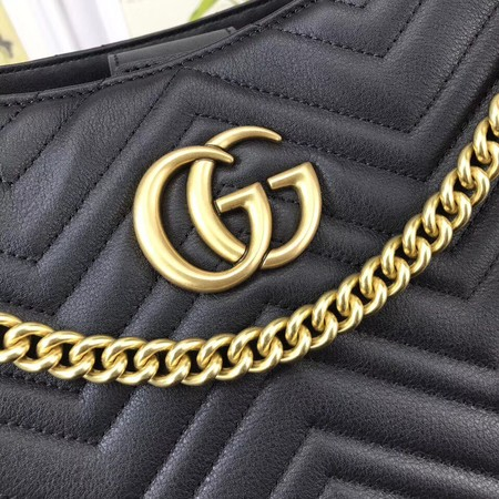 Gucci GG Marmont Medium Matelasse Shoulder Bag 453569 Black